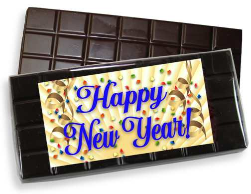 Happy New Year Dark Chocolate Candy Bar