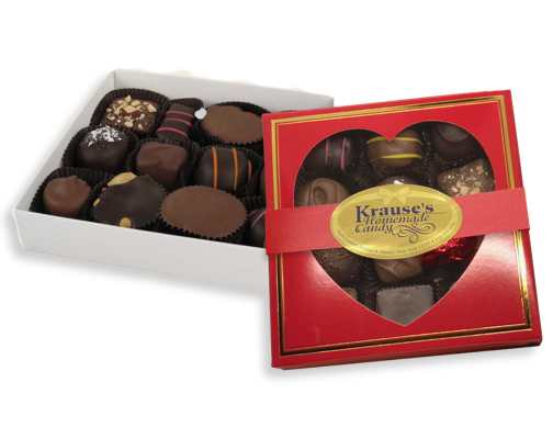 8 oz Heart Box of Chocolates (Square)
