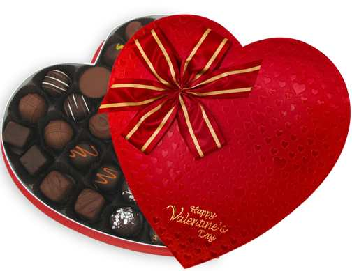 1.5 lb Red Satin Heart Box of Chocolates