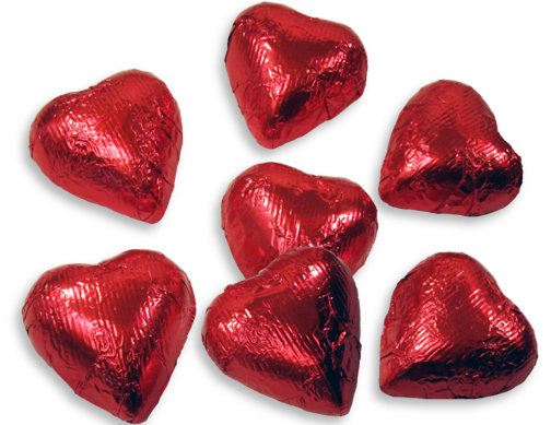 1/2 lb. Milk Chocolate Red Foil Hearts