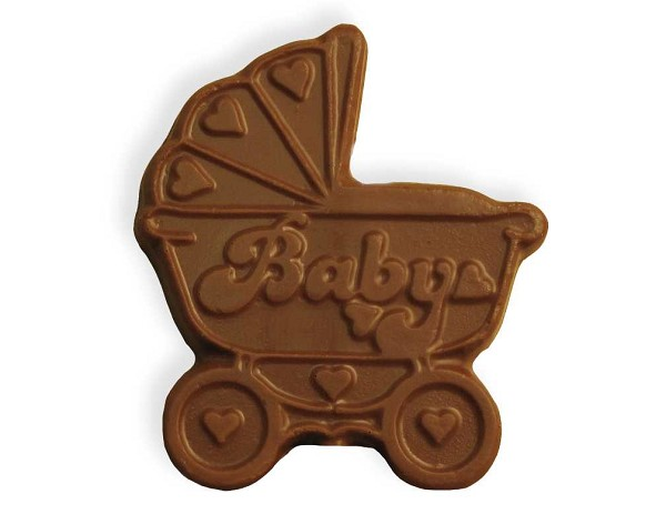 A chocolate baby carriage perfect for baby shower favor.