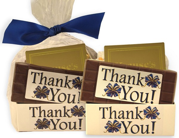 A Thank You box filled with Jelly Beans, Bridge Mix, solid milk chocolate Thank You Candy Bar and four pieces of filled chocolates.  A great way to say thanks!
