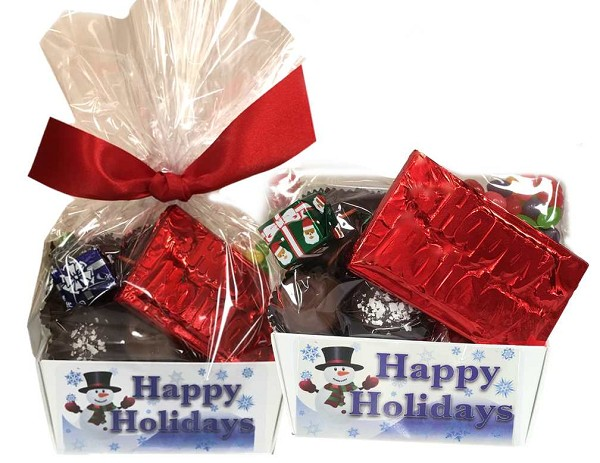Delicious seasonal favorites wrapped in cellophane and tied with a ribbon, ready to go just in time for the holidays!