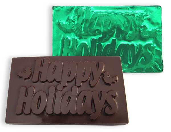 "A 3.5"" wide Dark chocolate Happy Holidays card wrapped in green foil."