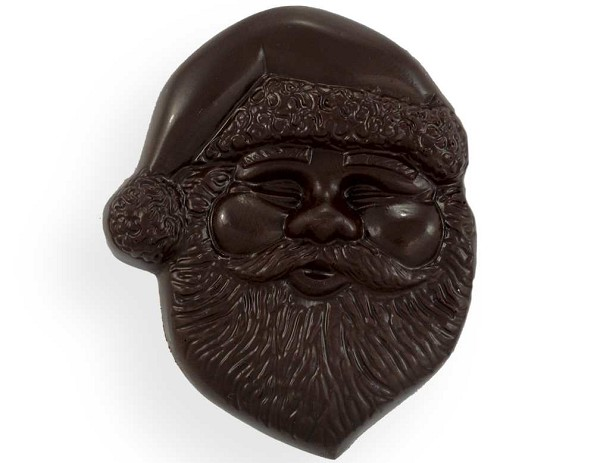 "A 4"" tall chocolate Santa Claus head wrapped in cellophane and tied with a ribbon."
