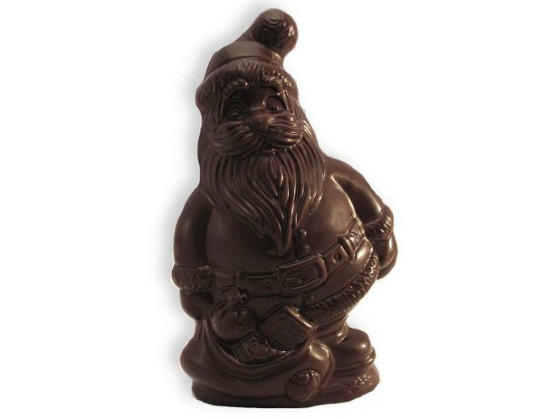 "A 4.75"" tall chocolate Santa wrapped in cellophane and tied with a red or green ribbon."
