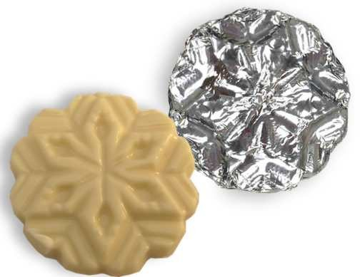 "A 3"" chocolate Snowflake wrapped in foil."