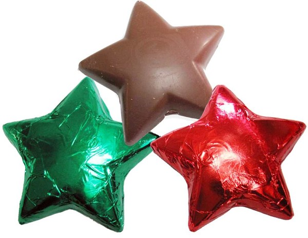 "A 3.5"" solid milk chocolate star wrapped in an assortment of red, green and gold foil and cellophane with a ribbon. A great stocking stuffer!"
