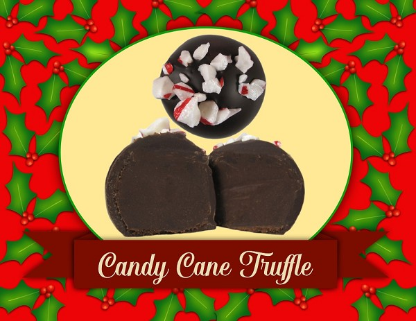 Crisp peppermint flavor makes this dark chocolate coated ganache one of our best holiday addition!
