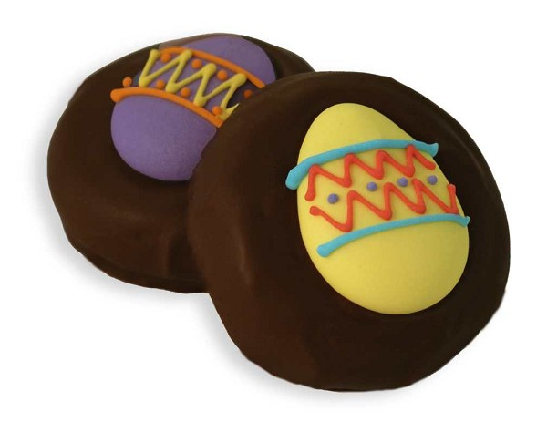 Chocolate covered cream filled cookies made with real Oreos® and decorated with Easter shapes.