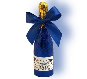 Milk chocolate Champagne Bottle wrapped in foil and tied with a bow.
