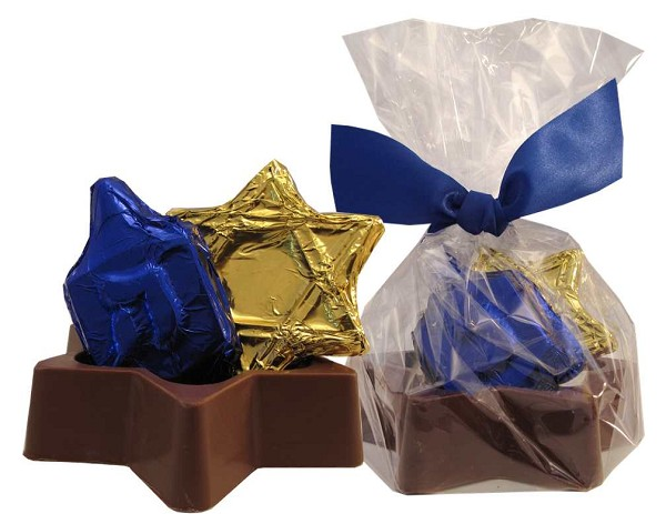 Star of David chocolate box filled with a chocolate Dreidel and Star of David.  Wrapped in cellophane and tied with a ribbon.