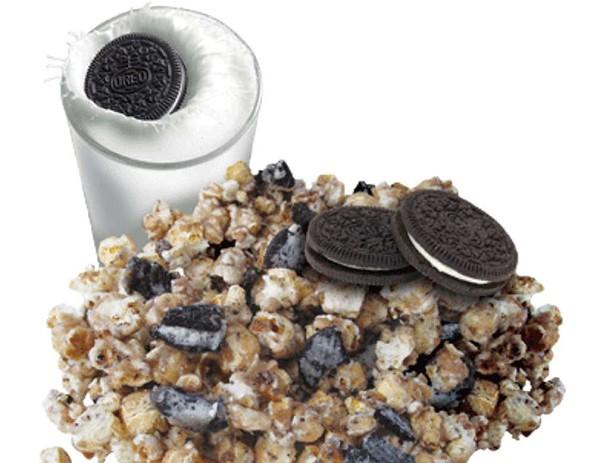 Popcorn and oreo pieces covered in a creamy caramel coating.