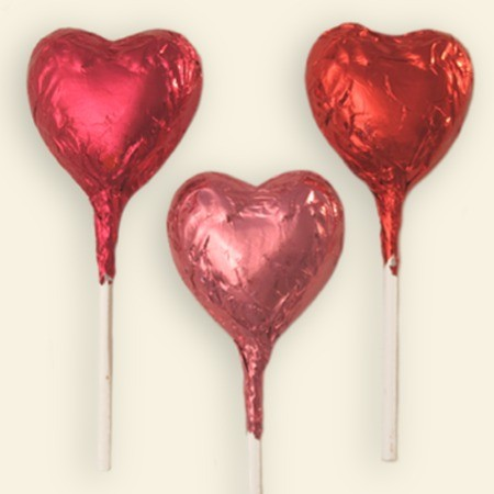 A chocolate Valentine's Day Heart Pop.   Click the video below to watch us foil wrapping hearts!