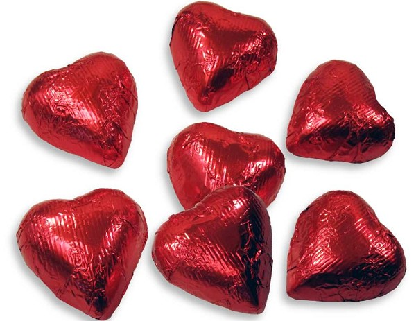 Milk Chocolate hearts wrapped in red foil.  Net Wt: 8 oz.