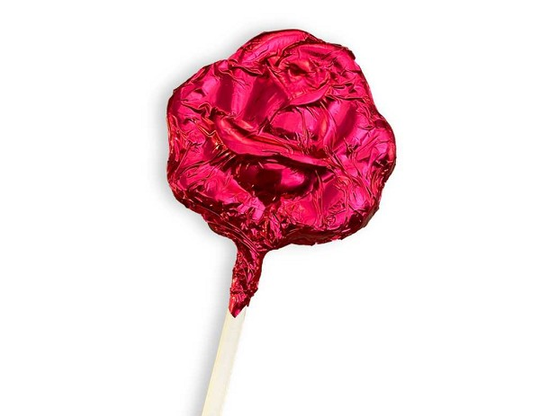 A dark chocolate rose pop, wrapped in burgundy foil and tied with a ribbon.