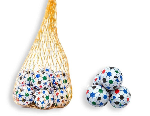 Solid Milk Chocolate Soccer Balls wrapped in foil.