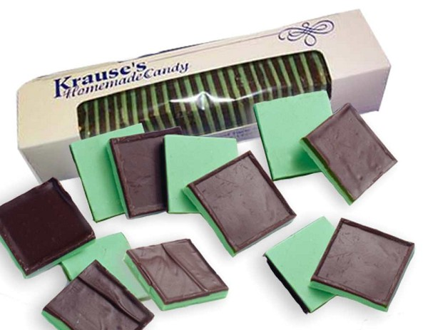 Thinly layered squares of creamy Peppermint and Dark Chocolate. Net Wt. 1/2 lb.