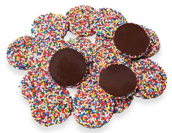 A 1/2 lb bag of Dark Chocolate Non-Pareils, a popular favorite.