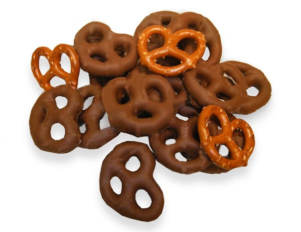 Crunchy, salty Pretzels covered in creamy Milk Chocolate...Yum!  Net Wt. 8 oz.